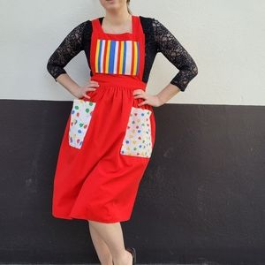 Fun red clown pinafore apron patch pockets